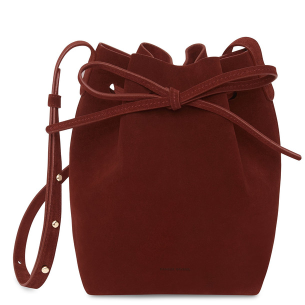 Mansur Gavriel Suede Mini Bucket Bag - Burgundy