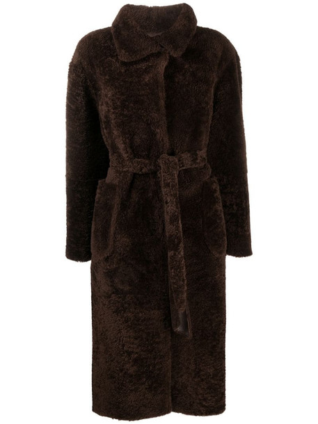 Suprema belted fur coat in brown
