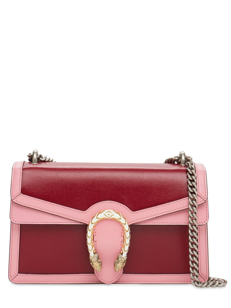 GUCCI Small Dionysus Leather Shoulder Bag in pink / red