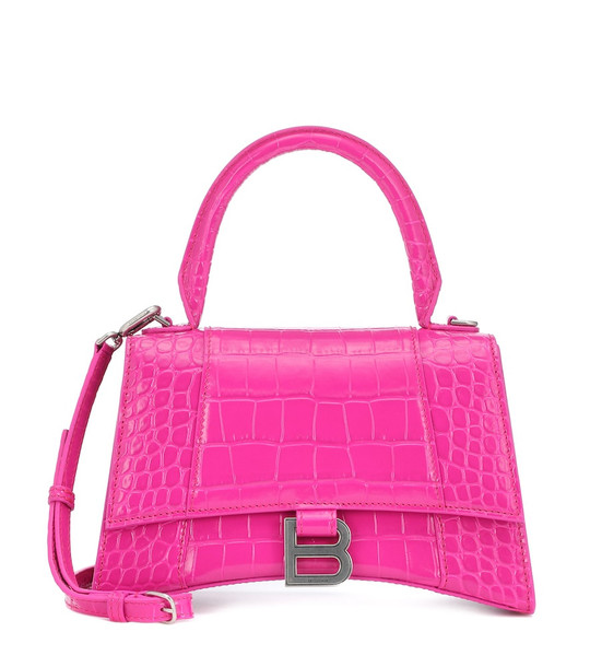 Balenciaga Hourglass Small leather tote in pink