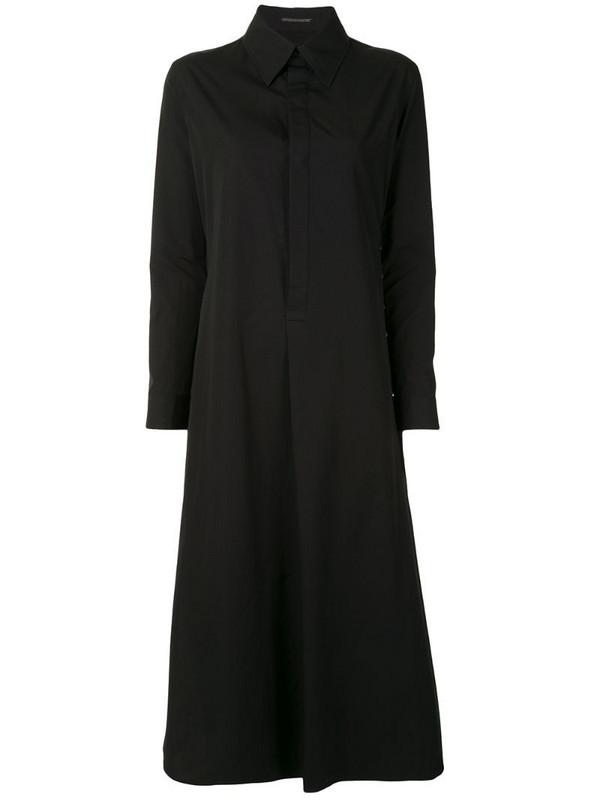 Yohji Yamamoto A-line drawcord-detail shirt dress in black