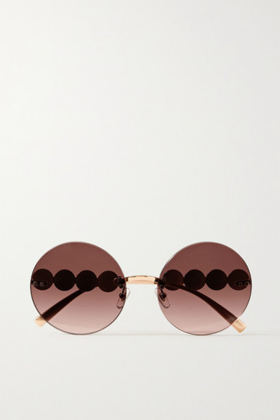Versace - Round-frame Rose Gold-tone Sunglasses - Pink