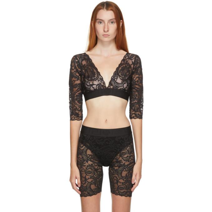 Versace Underwear Black Long Sleeve Lace Bra in nero
