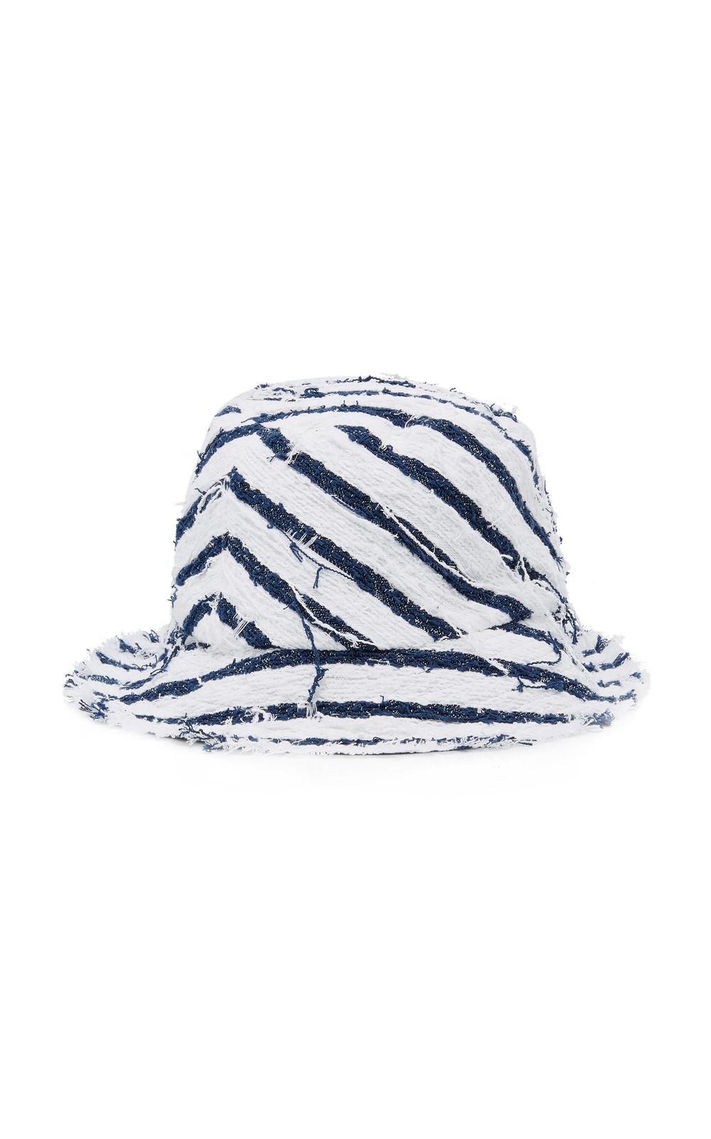 Eugenia Kim Toby Striped Canvas Bucket Hat in navy