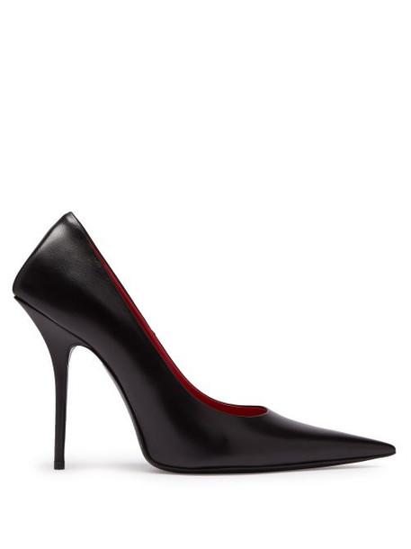 Balenciaga - Square Knife Leather Pumps - Womens - Black