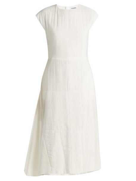Jil Sander - Fioretto Silk Blend Midi Dress - Womens - Ivory