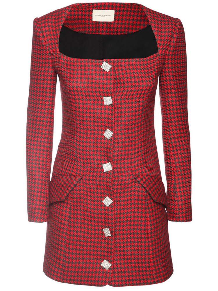 GIUSEPPE DI MORABITO Wool Blend Houndstooth Jacket Dress in black / red