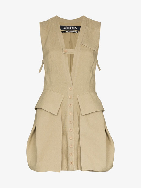 Jacquemus Utility pocketed dress top in neutrals