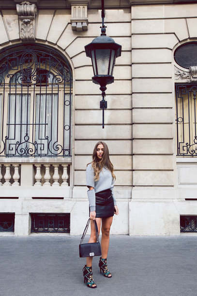 kenza blogger sweater skirt shoes bag