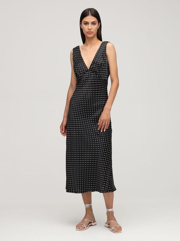 CIAO LUCIA Caterina Print Silk Midi Dress in black / white