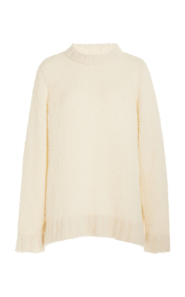 The Elder Statesman Cashmere-Blend Teddy Racing Sweater in white