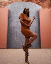 dress,mini dress,h&m,bodycon dress,knee high boots,heel boots