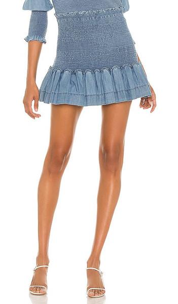 Veronica Beard Aloya Smocked Skirt in Blue in indigo