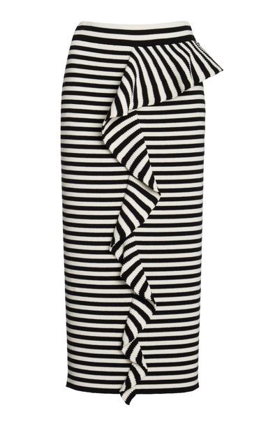 Max Mara Faesite Striped Knitted Jersey Pencil Skirt in multi