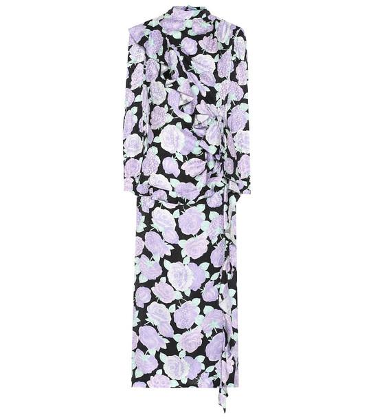 Miu Miu Floral jacquard silk midi dress in purple