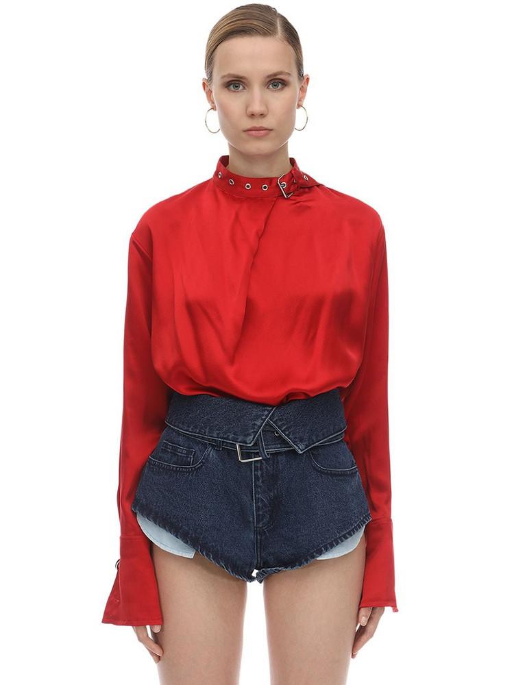 MARQUES'ALMEIDA Buckle Collar Silk Satin Blouse in red