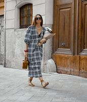 dress,plaid dress,midi dress,puffed sleeves,zara,slide shoes,handbag
