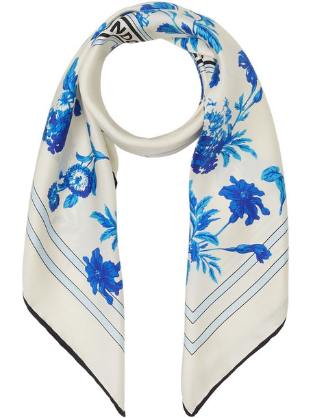 Burberry floral logo scarf in white