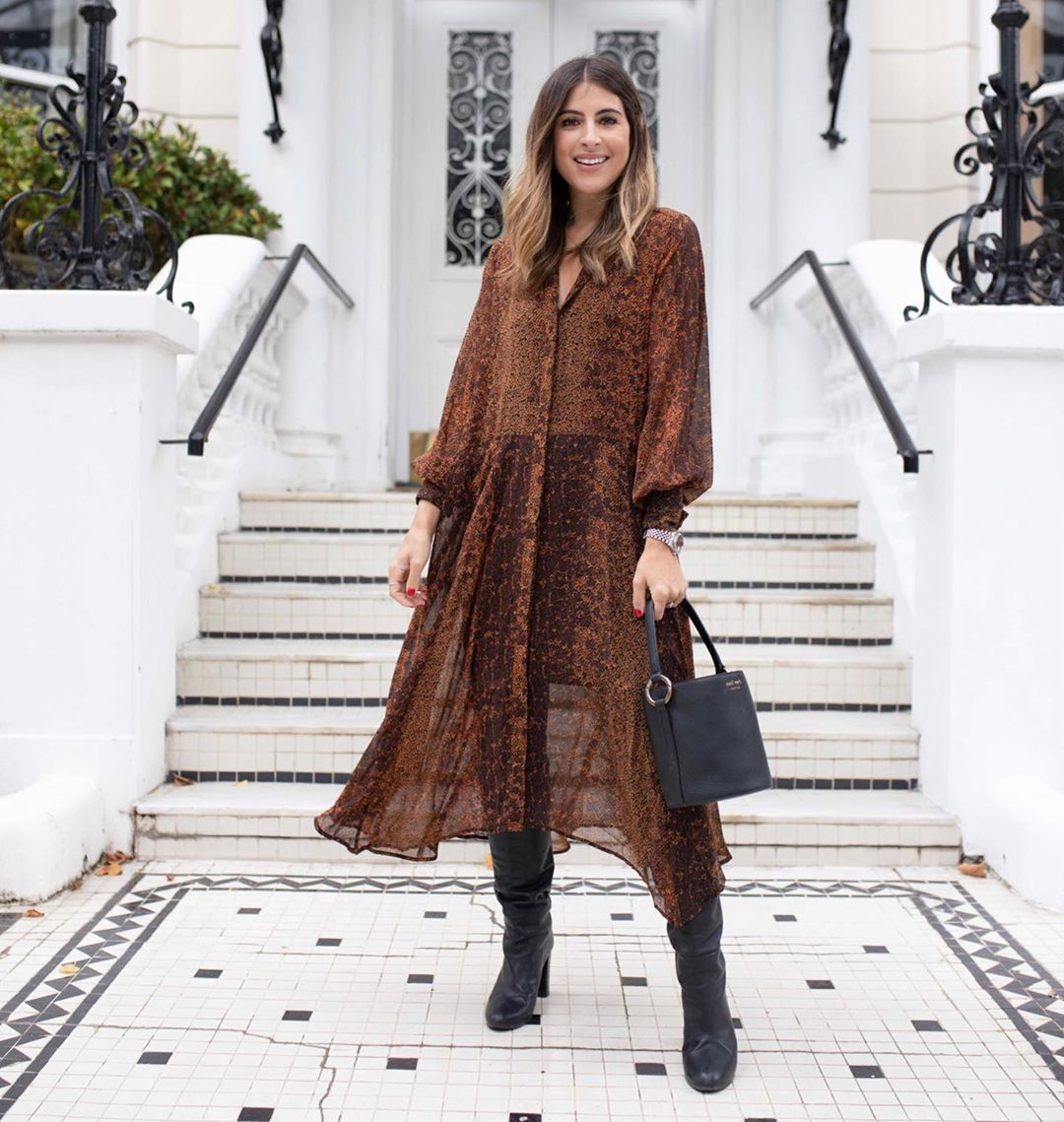 dress midi dress chiffon long sleeve dress knee high boots black boots black bag