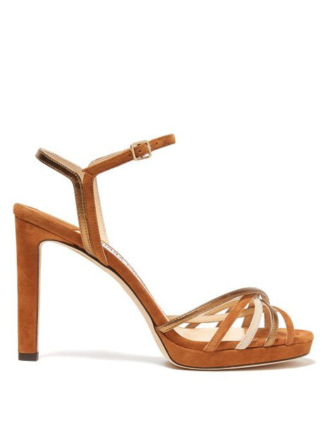 Jimmy Choo - Lilah Crossover Strap Suede Sandals - Womens - Tan Gold