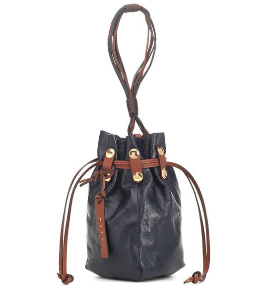 Marni Bindle leather clutch in blue