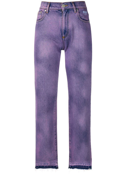 MSGM faded patch jeans in purple