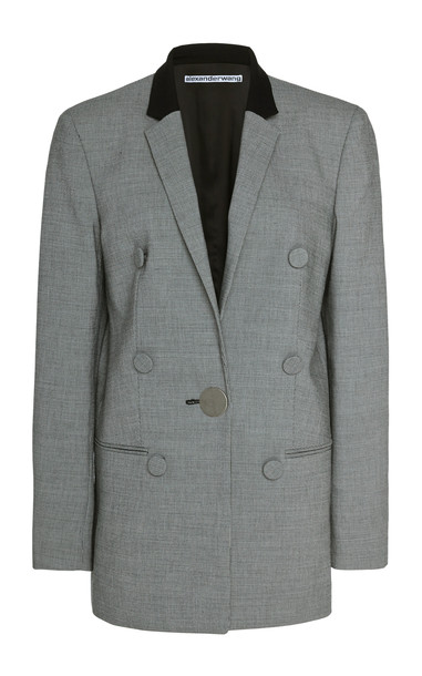 Alexander Wang Leather-Trimmed Houndstooth Wool Blazer Size: 8