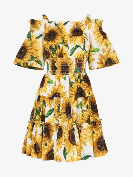 Dolce & Gabbana sunflower print cotton off-the-shoulder dress