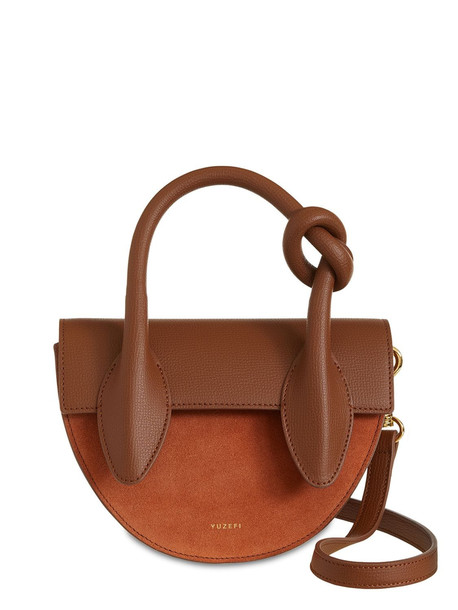 YUZEFI Dolores Leather & Suede Top Handle Bag in brick
