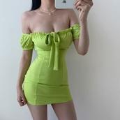 dress,neon earthy green mini dress