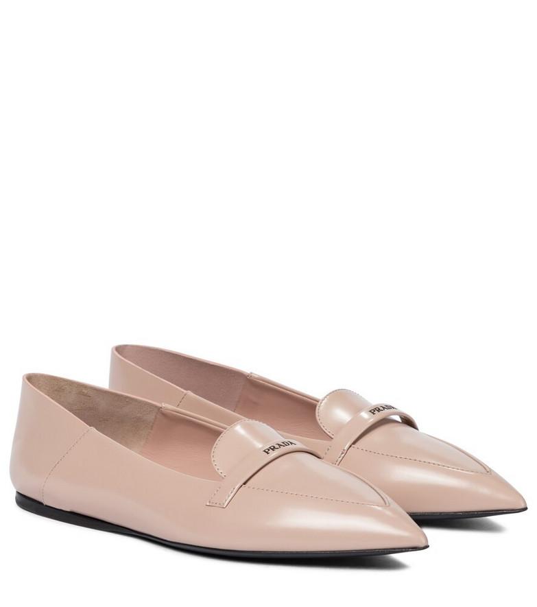 Prada Leather ballet flats in beige
