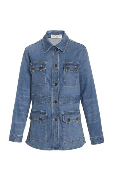 NILI LOTAN Blake Denim Field Jacket in blue