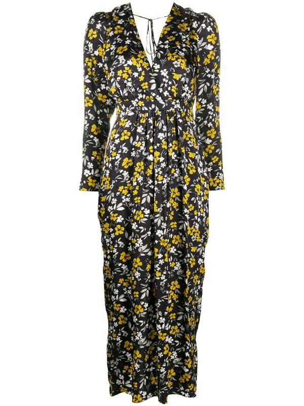 Racil floral-print V-neck dress in black