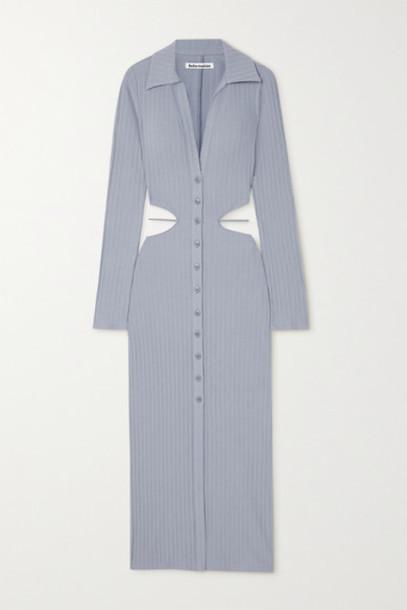 Reformation - Belmond Cutout Ribbed Cotton-blend Dress - Blue