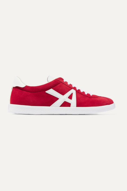 Aquazzura - The A Leather-trimmed Suede Sneakers - Red
