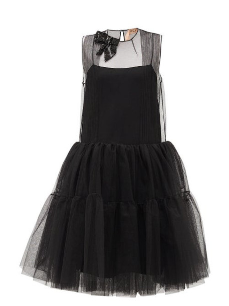 No. 21 - Sequinned-bow Tulle-panel Dress - Womens - Black