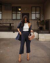 pants,high waisted pants,navy,capri pants,pumps,blazer,white top,shoulder bag
