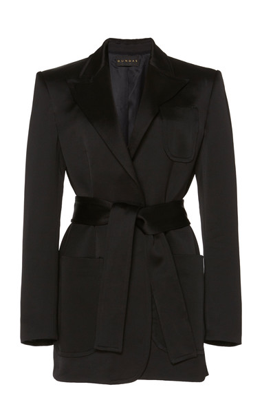 Dundas Satin Double Breasted Blazer in black