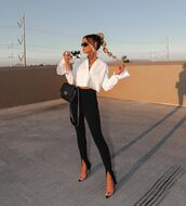pants,black pants,skinny pants,pumps,crop,white shirt,black bag