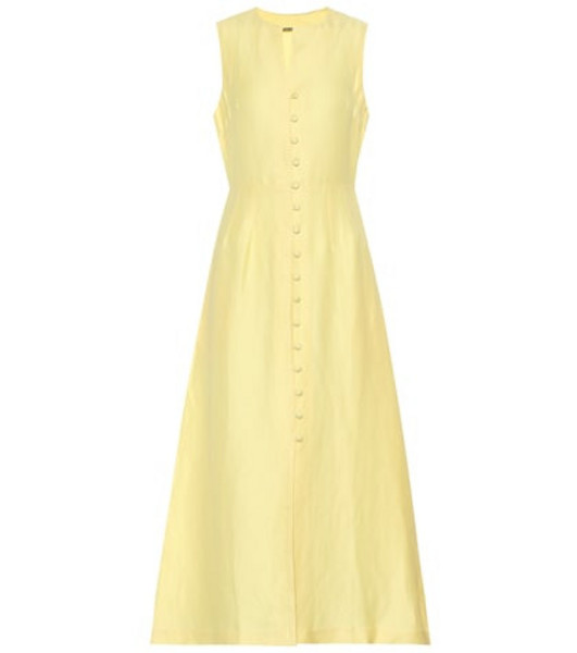 Cult Gaia Gia linen-blend midi dress in yellow