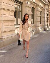 coat,beige coat,black sandals,black bag