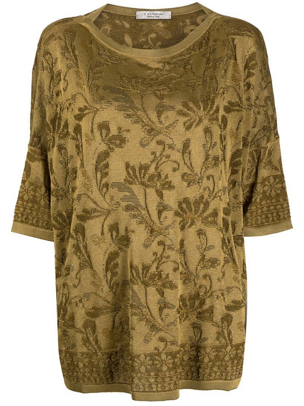 D.Exterior floral print slouchy T-shirt in green