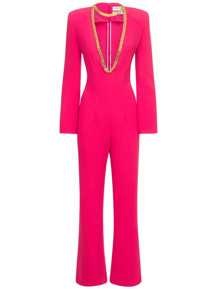 ROWEN ROSE Sable Deep V Neck Jumpsuit W/ Necklace in fuchsia