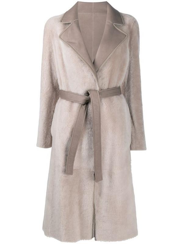 Blancha reversible wrap coat in neutrals