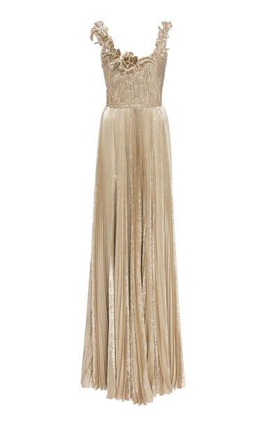 Oscar de la Renta Embellished Metallic Plissé Silk-Blend Gown in silver
