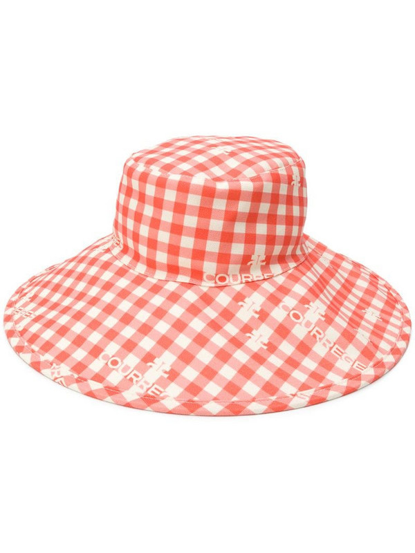 Courrèges gingham checked sun hat in orange