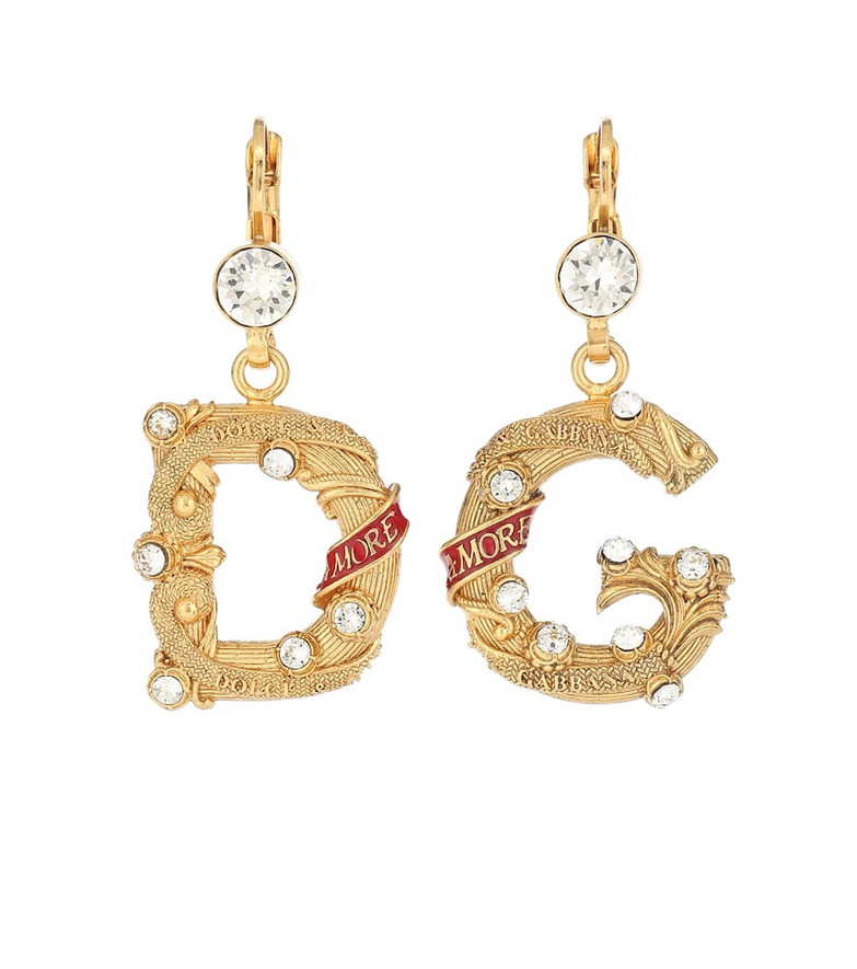 Dolce & Gabbana Embellished clip-on earrings in gold