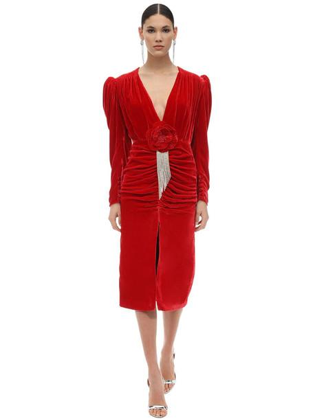 MARIANNA SENCHINA Embellished Viscose & Silk Midi Dress in red