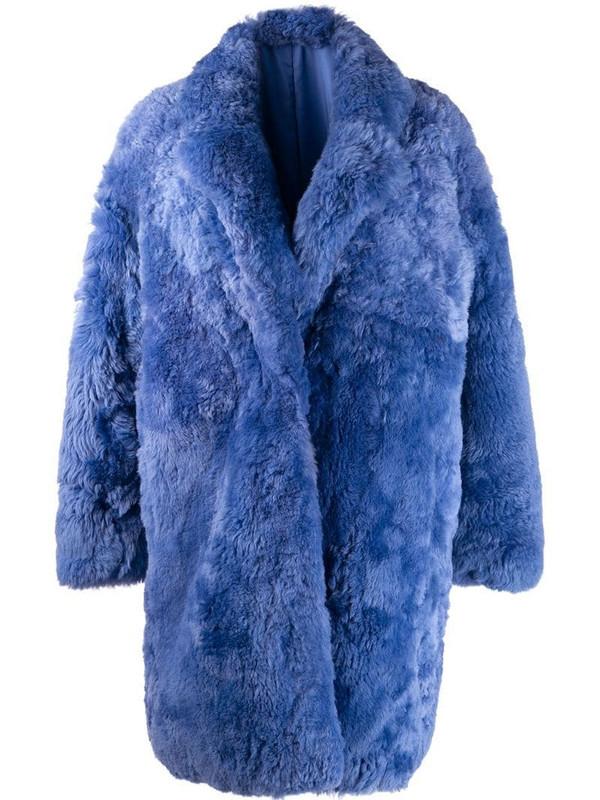 Liska single-breasted fur coat in blue