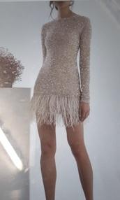dress,feather hem,grill hem,long sleeves,pink dress,glitter dress